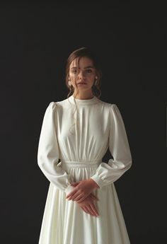 Long sleeve wedding dress Modest boho wedding dress Minimalist bridal gown Modern wedding dress for winter Crepe ivory wedding gown VESTA<br /> Wedding Dress Black, How To Dress For A Wedding, Wedding Dress Chiffon, Modest Wedding Dresses, Ivory Wedding, Maxi Dresses, Fashion Dresses, Modest Outfits, Hijab Fashion
