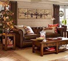 Benchwright Coffee Table - Rustic Mahogany stain #potterybarn (Note: Coffee Table with salvage look lumber).  Note: Wall Art.