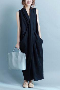 Black Sleeveless Cross Plus Size Oversize long Dresses