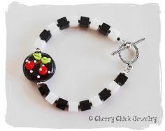 Checkered Cherry Bracelet with lampwork glass cherry bead. #CherryChickJewelry