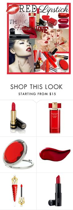"""Red Lipstick"" by giovanina-001 ❤ liked on Polyvore featuring beauty, Gucci, Christian Louboutin, Estée Lauder, Miss Selfridge and Kat Von D"
