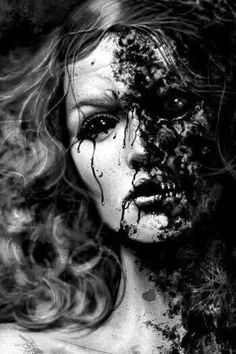 Women of Horror and Violence Art Zombie, Decay Art, Growth And Decay, Horror, Past Present Future, A Level Art, Vanitas, Black Art, Creepy