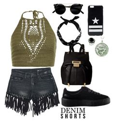 """""""Going back to black"""" by mollymeves ❤ liked on Polyvore featuring Sans Souci, New Look, Puma, Ivanka Trump, Givenchy, jeanshorts, denimshorts and cutoffs"""
