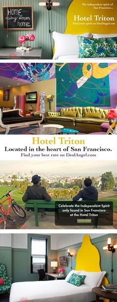 DEAL ALERT! Our angels have found a great hotel in the heart of San Francisco this weekend!    The Hotel Triton is a quirky & unique boutique hotel and can be your home away from home this weekend for only $ 119/night!    Go find your independent spirit in one of the nation's best cities this weekend and have plenty of money left over for sour dough bread & clam chowder!    You'll find the best deal at the Hotel Triton by searching DealAngel.com for the dates 3/1 - 3/3.