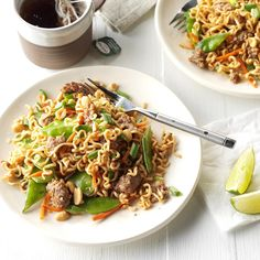 24 Easy and Delicious Ramen Noodle Recipes Ramen Cabbage Salad, Ramen Noodle Salad, Ramen Noodle Recipes, Ramen Noodles, Beef Lo Mein Recipe, Curried Carrot Soup, Best Chinese Food, Beef And Noodles, Clean Eating Snacks