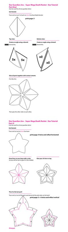 Star Guardian 3D Star Tutorial + Template by VickyLigt Free download on http://vickyligt.deviantart.com/art/Star-Guardian-3D-Star-Tutorial-Template-656401271