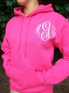 Monogrammed Hoodie sweatshirt 30 colors to choose by maryandlucy, $35.00