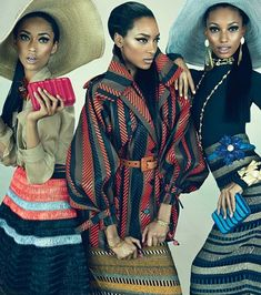 """W Magazine has released an all-black editorial in their March issue on newsstands now. The 8-page spread entitled """"Feminine Mystique"""" features of-the-moment models Jourdan Dunn, Anais Mali, and Jasmine Tookes showing off the latest looks for spring in bold prints and funky statement jewelry."""