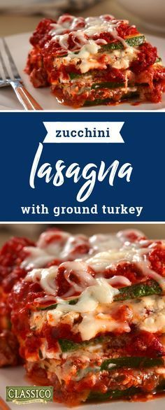 Zucchini Lasagna with Ground Turkey – Give your family's favorite Italian dish a fresh twist by subbing the pasta for slices of zucchini! Check out the full recipe to see how this dinnertime dish comes together using pesto, CLASSICO marinara sauce, ground turkey, different cheeses, and zucchini of course.