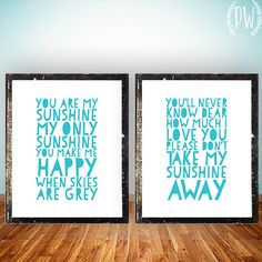 You are my Sunshine Quote Lyrics Print by PrintableWisdom on Etsy