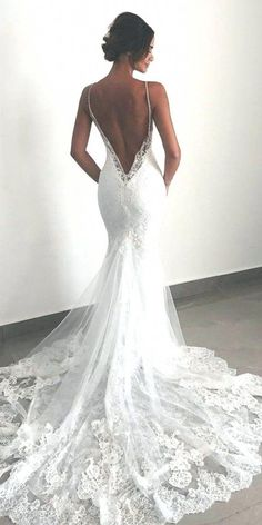 Sexy New Backless Lace Beads Wedding Dresses 2019 Spaghetti Straps Mermaid Layers Appliqued Boho Bridal Gowns – Summer Wedding – Wedding Ideas For Summer Backless Lace Wedding Dress, Spaghetti Strap Wedding Dress, Wedding Dresses With Straps, Lace Mermaid Wedding Dress, Wedding Dresses For Sale, Wedding Dress Trends, Spaghetti Straps, Wedding Ideas, Modest Wedding