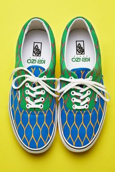 Kenzo   kenzo x vans print sneakers  This pair is blue/green. Sizes run US men's 4.5-11.    Our favorite skater sneakers have been Kenzo-ed! These patterned lace-ups are the first of three limited edition installments of customized Kenzo x Vans kicks. Covered in the signature fishnet print of the spring collection (the first by OC's own Carol and Humberto)!