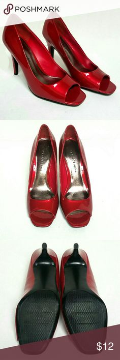 Red Patent Leather Peeptoe Pumps GREAT condition! A very small little mark on right shoe. Tried to show it in the picture, but it's hardly noticeable. Apostrophe Shoes Heels