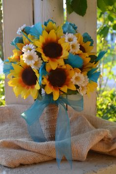 My Day Bouquet - Sunflowers, Turquoise Rose Buds, Turquoise Goose Flowers, White Daisies, and Burlap!! Original Design ONLY @ www.etsy.com/My Day Bouquet!