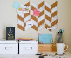 DIY tuturial: how to make a herringbone bulletin board!  With free printables via Spark & Chemistry