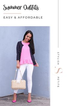 Easy and affordable summer outfits! Click through for details and get yourself a new look for summer! Hipster Fashion, Petite Fashion, Pink Fashion, Fashion Tips, Fashion Hacks, Cheap Handbags Online, Handbags Online Shopping, Popular Handbags, Dressy Outfits