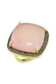 Two-Tone Champagne Diamond Halo & Rose Quartz Ring by Brighten Up: Colored Jewels on @HauteLook