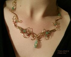 Aventurine Copper Wire Necklace by NikolettKiss on DeviantArt Wire Necklace, Wire Jewelry, Copper Wire, Glass Beads, Deviantart, Pearls, Stone, Metal, Bracelets