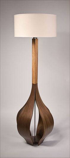 The Allium Floor Lamp in Walnut & Zebrawood by Castlewerks on Etsy, $1695.00