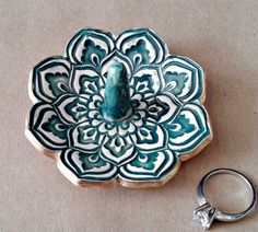 Ceramic Lotus Ring Holder TEAL gold edged 3 1/4 inches by dgordon