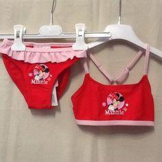 Costume da bagno mare piscina bambina Minnie due pezzi rosso 5 anni