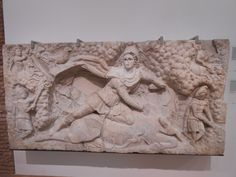 This is a statue in the Thermes of Diocletianus. Again it is from the Mithras Cult. Bob is just fascinated by the returning aspects of those statues. In every statue, Mithras is killing the bull, equal to 'evil'. There is also a scorpion on the image.