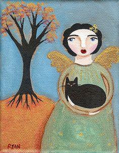 Autumn Angel & Cat by Ryan Conners Black Cat Images, Black Cats, Black Cat Painting, Fall Cats, Kliban Cat, Spirited Art, Angel Art, Rainbow Bridge, Cat Breeds