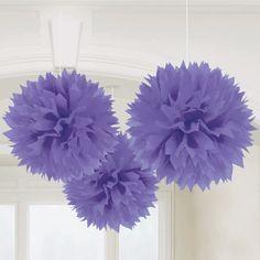 Hanging tissue pompoms in purple