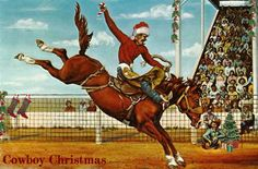 Cowboy Christmas in July rodeo bronc buster with Santa in the stands -image by North Pole West