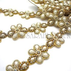 A stunning faux crystal, pearl and beaded trim. Decorate Lampshade, Gold Rate, Decorative Trim, Crystal Flower, Gem S, Haberdashery, Bangles, Women's Bracelets, Sparkle