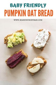 Healthy, gluten free, moist pumpkin bread made with oatmeal and no added sugar and oil! Great for baby led weaning and kids lunchbox! Lactation Recipes, Lactation Cookies, Baby Led Weaning First Foods, Baby Muffins, Moist Pumpkin Bread, Toddler Meals, Baby Meals, Toddler Food, Baby Food Recipes