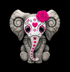 Pink+Day+of+the+Dead+Sugar+Skull+Baby+Elephant