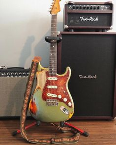 Dale Wilson Master Built Fender Stratocaster Heavily aged fire mist silver over three tone sunburst heavy relic and Two-Rock amplifier. Fender Custom Shop Stratocaster, Stratocaster Guitar, Cigar Box Guitar, Music Guitar, Cool Guitar, Playing Guitar, Learning Guitar, Guitar Chord, Art Music