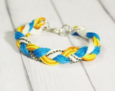 Neon Rope Braided Braclet together with chain and yarn