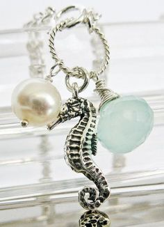 Sterling Silver Seahorse Bracelet Freshwater by PureJoyDetails