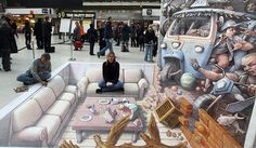 Credit: Lewis Whyld/PA 17 October 2007: Artist Kurt Wenner (seated left), finishes his 3D artwork, Waterloo Station, London