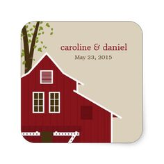 Rustic Barn Wedding Favor Sticker Stickers