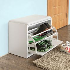 small shoe storage bench with cushion Shoe Storage Bench With Cushion, Shoe Bench, Closet Shoe Storage, Shoe Storage Cabinet, Space Saving Shoe Rack, Shoe Drawer, Wooden Candle Holders, Tidy Up, Living Room Designs