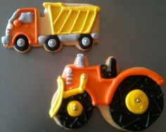 truck cookies - That's it. I'm off to look for truck type biscuit cutters, right now. Galletas Cookies, Iced Cookies, Yummy Cookies, Cupcake Cookies, Sugar Cookies, Cookies Et Biscuits, Cupcakes, Birthday Cookies, Cookies For Kids