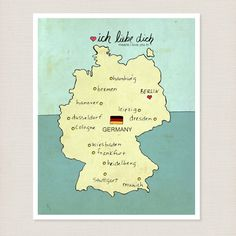 I Love You in Germany 8 x 10 / Typography Print, German Map, Giclee, Modern Baby Nursery Decor, Illustration, European Travel Theme, Digital. $20.00, via Etsy.