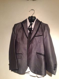 07fe9ae01c Details about Tazio Suit For Boys Size 5 Hand Tailored In Italy Shiny  Silver With Shirt Tie