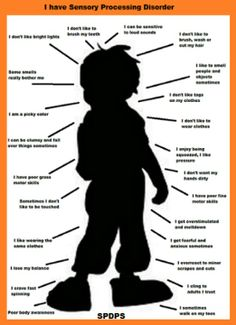 Sensory Processing Disorder. Good visual for quasi therapists, caretakers, mainstream teachers (with SIT based IEPs included their enrollment), etc,