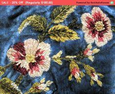 On Sale - Antique Velvet Chenille Runner Embroidery Victorian