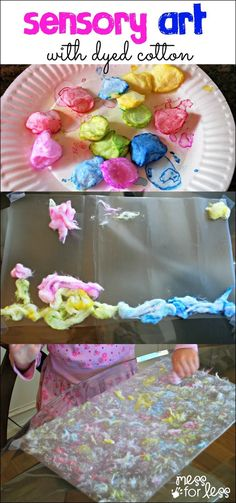 Sensory Art with Dyed Cotton - Such a fun way to create touchable art!