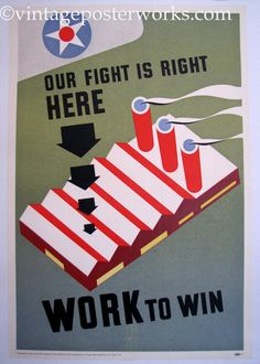 1940's Our Fight is Right Here Vintage WW2 Poster