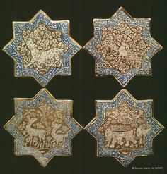 Star-shaped tiles Location: Rome, Italy Holding Museum: National Museum of Oriental Art (Museo Nazionale d'Arte Orientale) Date of Object: Hegira / AD centuries Dimensions: Width Period / Dynasty Ilkhanid Provenance: Iran. Ancient Persian, Islamic Paintings, Metallic Luster, Islamic Patterns, Mosaic Art, Mosaic Tiles, Antique Tiles, Iranian Art, Virtual Museum