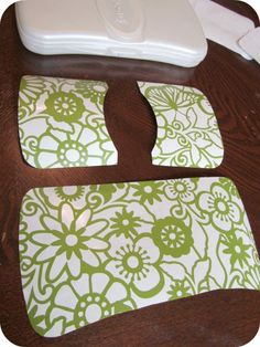 You asked for it, so here it is ... a template to make your own vinyl-decorated wipes case .     Supplies needed:  Hard plastic travel wipes...