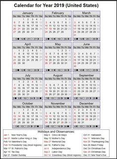 2019 Calendar United States 2019 Calendar Holidays in United States. #usa #calendar