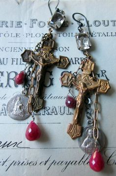 RESERVED for Vanita  ruby crosses  vintage by TheFrenchCircus