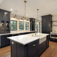 grey kitchen designs 32 Fabulous Grey Kitchen Cabinets You Will Love - Custom grey rta cabinets may seem a bit outside of the box, but that is exactly what makes this color so popu Dark Kitchen Cabinets, Kitchen Cabinet Design, Rta Cabinets, Navy Cabinets, Grey Kitchen Walls, Soapstone Kitchen, Kitchen Cupboard, Kitchen Countertops, Kitchen Island